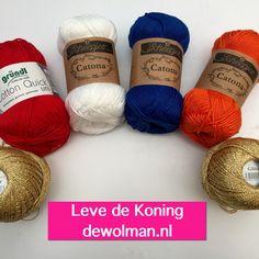 Leuke ideetjes voor het haken voor Koningsdag kijk eens op: http://www.freppi.com/Patronenkoningsdag.aspx  Het garen besteld u natuurlijk bij www.de-wolman.nl