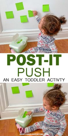 Post-it Push – HAPPY TODDLER PLAYTIME In need of a quick activity to keep your walking baby happy or your toddler busy? Try this super easy posting activity that only requires two things! toddler activity Post-it Push Activities For 1 Year Olds, Motor Skills Activities, Toddler Learning Activities, Games For Toddlers, Sensory Activities, Infant Activities, Art With Toddlers, Baby Room Activities, Learning Games