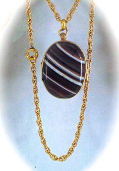 Antique BANDED AGATE LOCKET Pendant Necklace