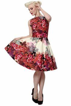 Red Rose Floral φόρεμα Κρέμα Τσάι: Lady Vintage