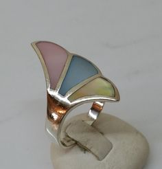 Vintage Ringe - Ring Silber 925 mit dreifarbig Perlmutt edel SR493 - ein…