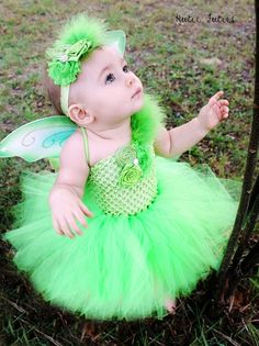 The Tinkerbell Headband and Wings- Green, Birthday, Halloween, Costume, Pageant, baby girl, infant, toddler, child, photo prop via Etsy