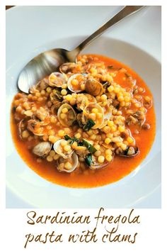 Fregola with clams is a delicious seafood pasta recipe from Sardinia. This dish is uniquely Sardinian and not found in other parts of Italy! Clam Recipes, Seafood Pasta Recipes, Seafood Dishes, Pasta Dishes, Asian Recipes, Healthy Recipes, Ethnic Recipes, Delicious Recipes, Clam Pasta
