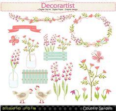 Flowers clip art Botanical clip artcountry garden by decorartist, $4.50