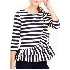 Women's J.crew Asymmetrical Stripe Ruffle Top ($78) ❤ liked on Polyvore featuring tops, sweaters, navy muslin, navy striped top, navy sweater, navy blue striped sweater, j crew sweaters and ruffle sweater