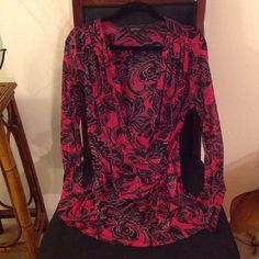 ❤️ Karen Kane - Sheer Blouse Beautifully designed Sheer blouse by Karen Kane. Size XL. Nice fitted sleeves that comes down to wrist. Very nice Ruffle on one side. Deep Pinks and Purple colors with stretchy 'cross bodice' front. May need to add a cute Cami underneath ❤️. Karen Kane Tops Blouses