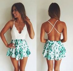 Pair these floral teal high waisted shorts with a backless white crop top!
