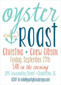 Oyster Roast Engagement Party Invites Oyster Roast Invites