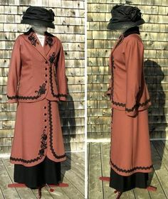 The same 1912 design in a fine rosewood-coloured wool satin gabardine, with lightweight silk/wool twill underskirt and contrast collar, black Venise lace trim, buttons covered in same black silk/wool as underskirt.  Look for our pattern #1912-A-032 for this walking suit in the summer of 2015.