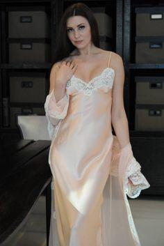 Long Pink Silk Nightdress - Jane Woolrich Design 8373