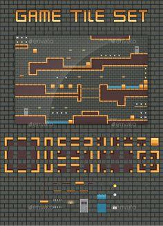Platformer Game Tile Set — Vector EPS #surface #tileset • Available here → https://graphicriver.net/item/platformer-game-tile-set/10701950?ref=pxcr