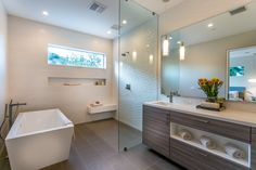 Modern Bathroom at Knobhill in Sherman Oaks by Boswell Construction #buildboswell