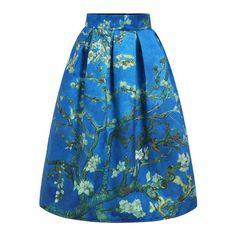 SheIn(sheinside) Blue High Waist Branch Print Skirt ($24) ❤ liked on Polyvore featuring skirts, blue, long maxi skirts, long skirts, long blue skirt, high waisted skirts and high waisted long skirt