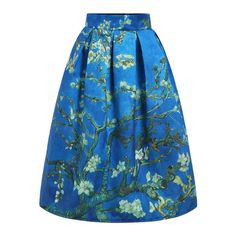 SheIn(sheinside) Blue High Waist Branch Print Skirt (31 CAD) ❤ liked on Polyvore featuring skirts, blue, long flared skirts, vintage skirts, long blue skirt, high waisted maxi skirt y print maxi skirt