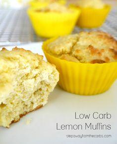 Low Carb Lemon Muffins - a healthy zesty treat! A sugar free recipe.
