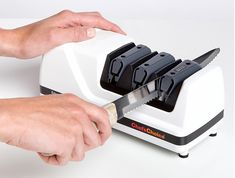 Chef'sChoice 120 Diamond Hone Pro EdgeSelect Electric Knife Sharpener for Edges Diamond Abrasives Stropping Precision Guides for Straight and Serrated Edges White -- More info could be found at the image url. (This is an affiliate link) Best Electric Knife Sharpener, Best Knife Sharpener, Professional Knife Sharpener, Best Chefs Knife, Chef's Choice, Specialty Knives, Kitchen Knives, Kitchen Tools, Knife Sharpening