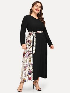 Shop Plus Contrast Chain Print Belted Dress online. SHEIN offers Plus Contrast Chain Print Belted Dress & more to fit your fashionable needs. Dress Plus Size, Plus Size Jeans, Plus Size Blouses, Plus Size Outfits, Moda Plus Size, Trendy Plus Size, Plus Size Women, Pop Fashion, Fashion News