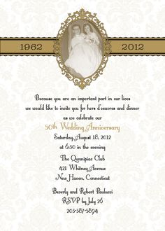 Damask 50th anniversary wedding invitation