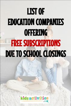 We have the Entire List of Education Companies Offering Free Subscriptions Due to School Closings. Each of these websites will allow you to sign-up for FREE and help your child along with their education. Learning Websites, Educational Websites, Home Learning, Learning Activities, Teaching Kids, Kids Learning, Educational Toys, Indoor Activities, Learning Spanish