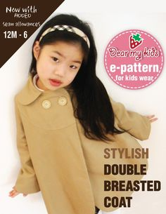 Stylish kids double breasted coat  Age 1 to 6  PDF patterns