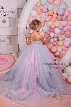 Items similar to Pink and Grey Tulle Flower Girl Dress - Birthday Wedding Party Holiday Bridesmaid Flower Girl Tulle Lace Dress on Etsy Kids Prom Dresses, Pageant Dresses, 15 Dresses, Wedding Party Dresses, Prom Party, Ball Dresses, Tulle Flower Girl, Tulle Flowers, Tulle Lace