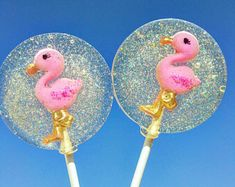 Flamingo Lollipops, Set of 10 Lollipops, Hand Made, Custom, Hard Candy, Flamingo Party, Party Favors, Birthday Party Favors, Lollipops