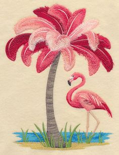 Machine Embroidery Patterns Machine Embroidery Designs at Embroidery Library! - New This Week Embroidery Software, Learn Embroidery, Machine Embroidery Patterns, Crewel Embroidery, Vintage Embroidery, Embroidery Techniques, New Embroidery Designs, Ribbon Embroidery, Flamingo Decor