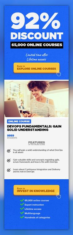 DevOps Fundamentals: Gain Solid Understanding Software Engineering, Development #onlinecourses #studyroom #onlinetrainingwebsiteLearn the fundamentals of DevOps including the entire software development lifecycle. Agile, Scrum, and CI/CD with Demos DevOps Fundamentals: Gain Solid Understanding DevOps is the union of people, process, and products to enable the continuous delivery of value to end ...