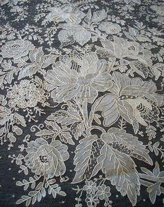 ATQ ROSE Point de Gaze Needle Lace Bride Wedding Veil Shawl BEST LG RARE Hand W in Antiques, Linens & Textiles (Pre-1930), Lace, Crochet & Doilies, Other Antique Lace & Crochet | eBay