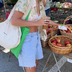 Retro Outfits, Cool Outfits, Summer Outfits, Fashion Outfits, Farmers Market Outfit, Ootd, Workout Accessories, Summer Aesthetic, Summer Girls