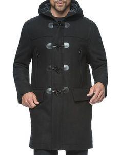 """<ul><li>Textured wool-blend hooded jacket with toggle closure</li><li>Attached hood</li><li>Front zipper with toggle placket</li><li>Dual front zip pockets</li><li>Dual front flap pockets</li><li>Long sleeves</li><li>Back yoke stitch detail</li><li>About 37"""" from shoulder to hem</li><li>Face: Polyurethane</li><li>Back: Rayon/polyester</li><li>Faux leather trim</li><li>Dry clean</li><li>Imported</li></ul>"""