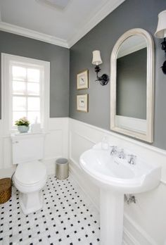 Gray and White. Parisian. I WILL do this in our master bathroom. chair rail, white. grey on wall.
