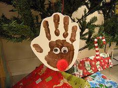 reindeer hand print ornament