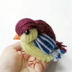 Use leftover yarns to make this cute bird!