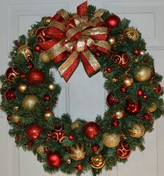 Bright and Colorful Red and Gold Christmas by CoastalCottageCrafts, $45.00