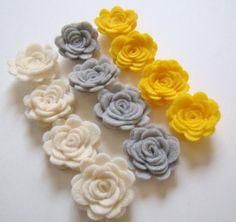 Trendy Felt Flower Rose Gray Ivory & Yellow Flower by sweetiefluhr, $5.99
