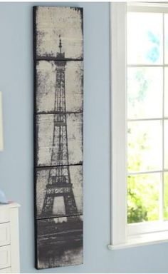 Eiffle Tower Canvas Wall Art (I'd have that wall color too) #PBTEEN