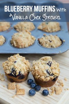 Easy recipe for deliciously crunchy Blueberry Vanilla Chex Muffins on 5DollarDinners.com