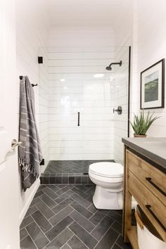 Treasure in the Detail is a modern interior design studio rooted in providing busy families and professionals with beautiful, livable spaces. Downstairs Bathroom, Bathroom Renos, Master Bathroom, Bathrooms, Small Full Bathroom, White Bathroom, Bathroom Tile Designs, Bathroom Interior Design, Bathroom Ideas