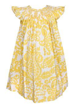 Le Za Me Baby / Toddler Girls Sunny Yellow Damask Smocked Flutter Sleeve Dress