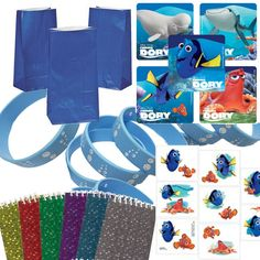 12 Guest Finding Dory Party Favor Set- Bags, Stickers, Wristbands, Tattoos, Notepads