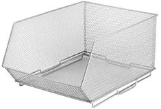 Amazon.com: YBM HOME Ybmhome Mesh Stacking Bin Silver (Sold AS 1 BIN) Storage Containers Pantry Organizers Great for Food, Crafts, Cleaning or Pantry Items 1613s (1, Large 15x11x8 Inch): Home & Kitchen Freezer Storage, Cube Storage, Storage Bins, Storage Containers, Storage Spaces, Potato Storage, Stacking Bins, Best Closet Organization, Shelving Systems