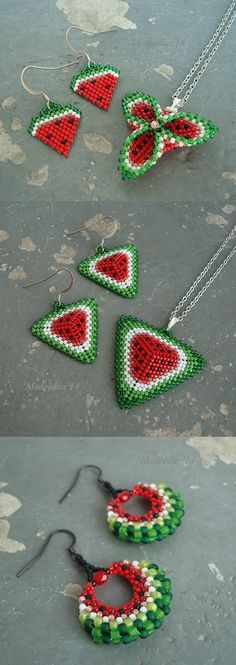 watermelon earrings - No pattern but cute idea