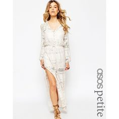 ASOS PETITE Exclusive Maxi Dress in Lace with Low Back ($99) ❤ liked on Polyvore featuring dresses, ivory, petite, white mini dress, maxi dress, crochet lace dress, petite maxi dress and lace dress