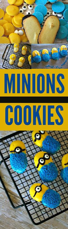 These Minions cookies combine two of my favorite things  – Minions and Milanos. These cookies are a great way to celebrate the Minions movie and would be perfect for a Minions themed party! YUM!
