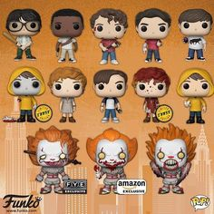 Losers and Pennywise pop! Funko Pop Figures, Pop Vinyl Figures, Daddy Yankee, Geek Chic, Funko Pop Dolls, Le Clown, Pennywise The Dancing Clown, Funk Pop, Pop Toys