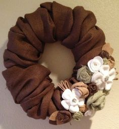 16 inch brown colored burlap wreath with by BurlapandLacePlace, $35.00