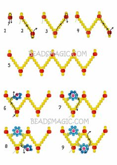 Free pattern for bracelet Spring Flowers - Beading Patterns - Free pattern for bracelet Spring Flowers Free Beading Tutorials, Seed Bead Tutorials, Beading Patterns Free, Free Pattern, Bead Patterns, Seed Bead Jewelry, Bead Jewellery, Seed Beads, Geek Jewelry