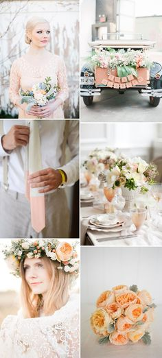 Peach Mood Board | http://www.rockmywedding.co.uk/colour-story-peaches-and-cream/