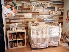 Saw this nursery in People magazine while getting my hair done today. It is actually the nursery for Jewel's son, Kase. I loved the reclaimed barn wood as a wall. Western Nursery, Rustic Nursery, Cowboy Nursery, Wood Nursery, Rustic Baby, Nursery Furniture, Woodland Nursery, Chic Nursery, Nursery Room